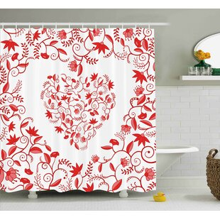 Valentines Day Paisley Floral Details With Leaves and Roses Single Shower Curtain