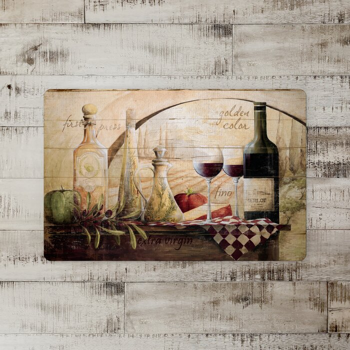 Swayze Tuscan Wine Bottles Kitchen Mat