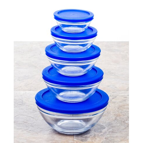 Imperial Home Snack Size Glass Bowl with Tight Lids Set