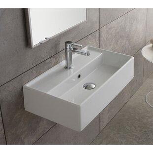 Scarabeo by Nameeks Teorema Ceramic Rectangular Vessel Bathroom Sink with Overflow