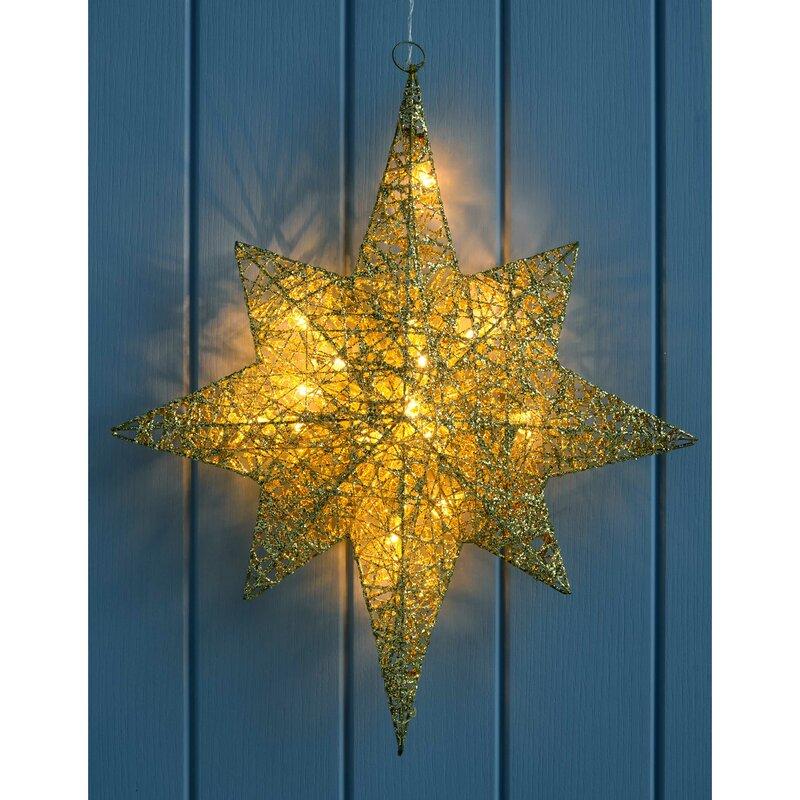 Pre Lit String Warm Led Gold Star Christmas Decoration