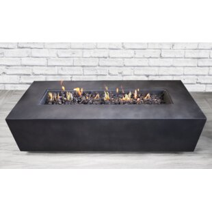 Santiago Concrete Propane Gas Fire Pit Table by Living Source International