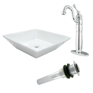 Read Reviews Heritage Ceramic Square Vessel Bathroom Sink with Faucet ByKingston Brass