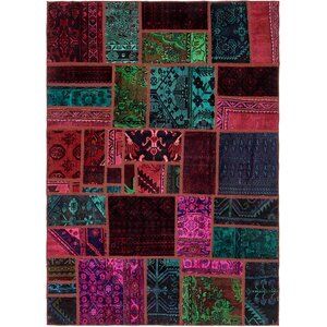 Sela Vintage Persian Hand Woven Wool Rectangle Red/Green Patchwork Area Rug