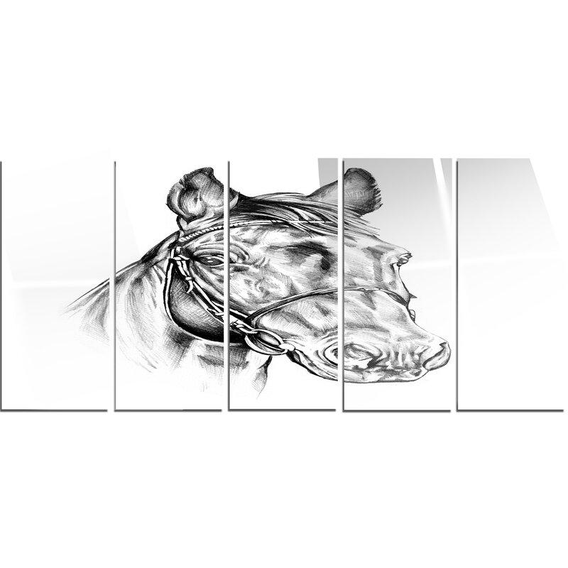 Designart Freehand Horse Head Pencil Drawing 5 Piece Graphic Art On Metal Set Wayfair