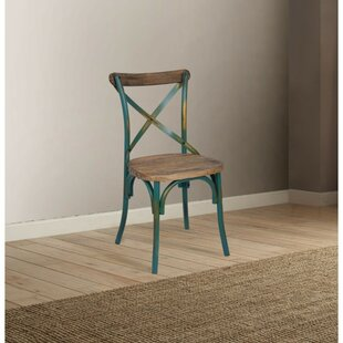 Best Reviews Laurie Industrial Solid Wood Dining Chair by Highland Dunes