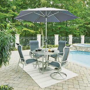 Red Barrel Studio Dinan Outdoor 5 Piece Dining Set with Umbrella