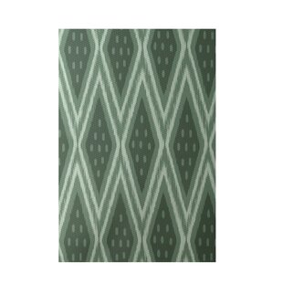 Geometric Hand-Woven Green Indoor/Outdoor Area Rug
