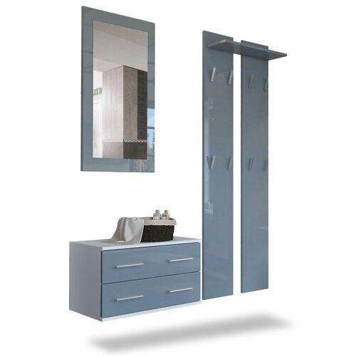Garderobenset Kioto Vladon Farbe: Grau (glänzend)/Weiß (matt) | Flur & Diele > Garderoben | Vladon