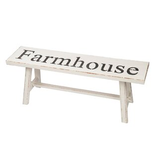 Gracie Oaks Wilcox Farmhouse Wood Bench