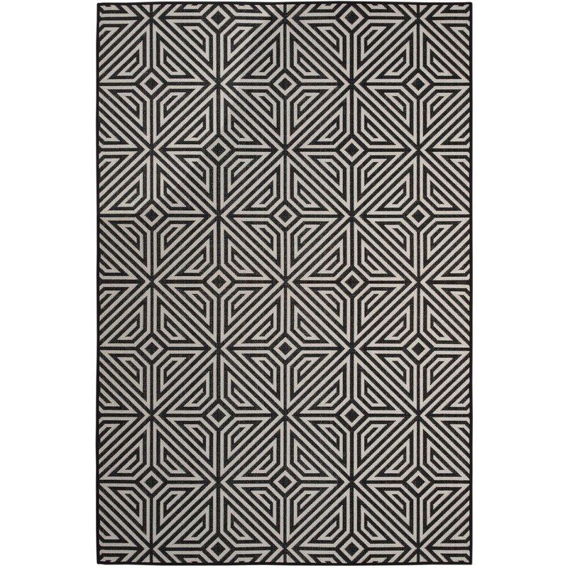 Wrought Studio Moura Power Loom Black White Rug Reviews Wayfair