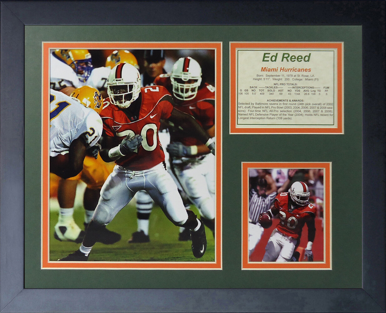 super popular 9e620 bee06 Ed Reed - Miami Hurricanes Framed Photographic Print