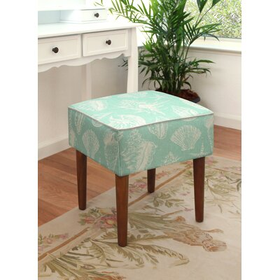123 Creations Seashells Upholstered Vanity Stool Color Aqua