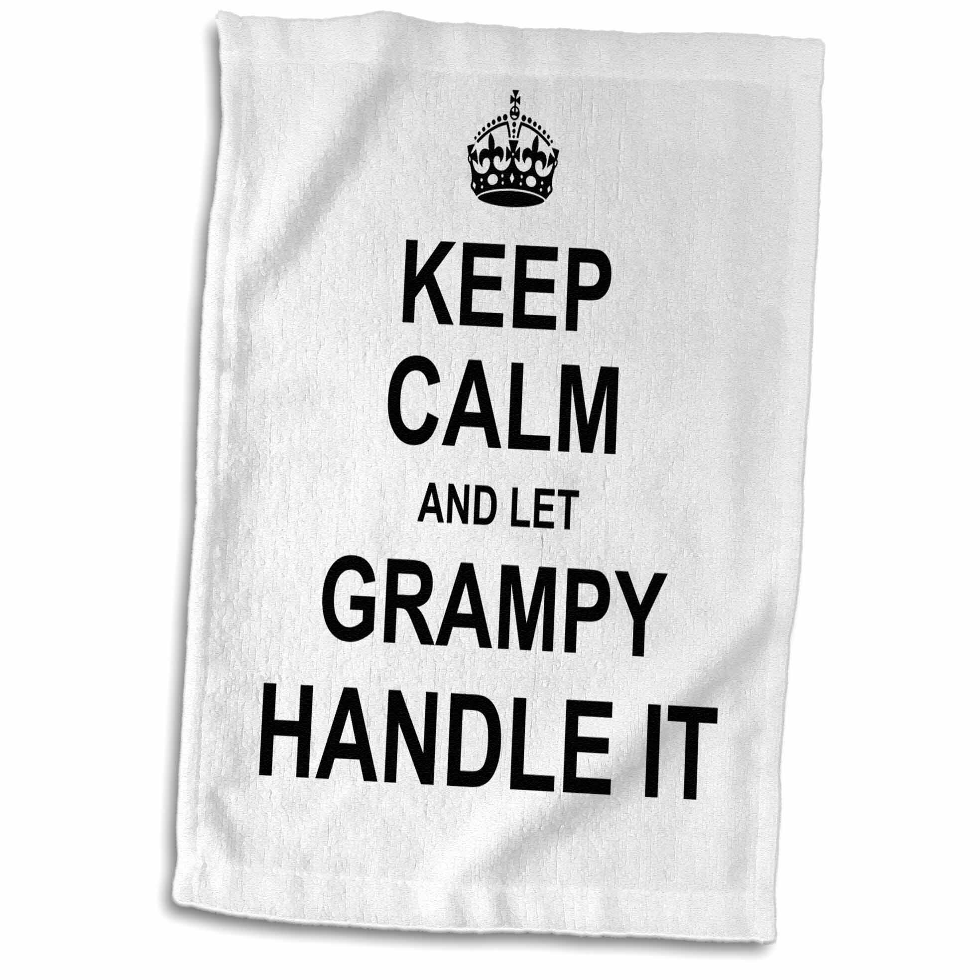East Urban Home Black And Gold Geometric Keep Calm And Let Grampy Handle It Fun Funny Grandpa Grandfather Gift Hand Towel Wayfair