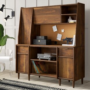 Cutrer Credenza Desk with Hutch by Mercury Row
