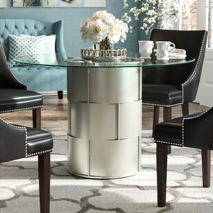 Cliburn Drum Glass Dining Table by House of Hampton