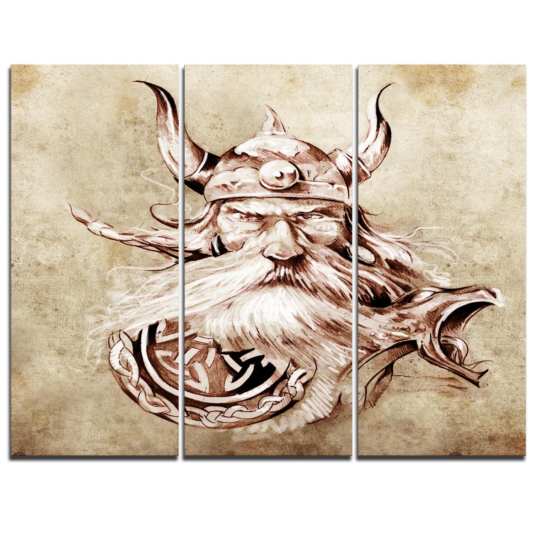 Designart Viking Warrior Tattoo Sketch 3 Piece Graphic Art On Wrapped Canvas Set Wayfair
