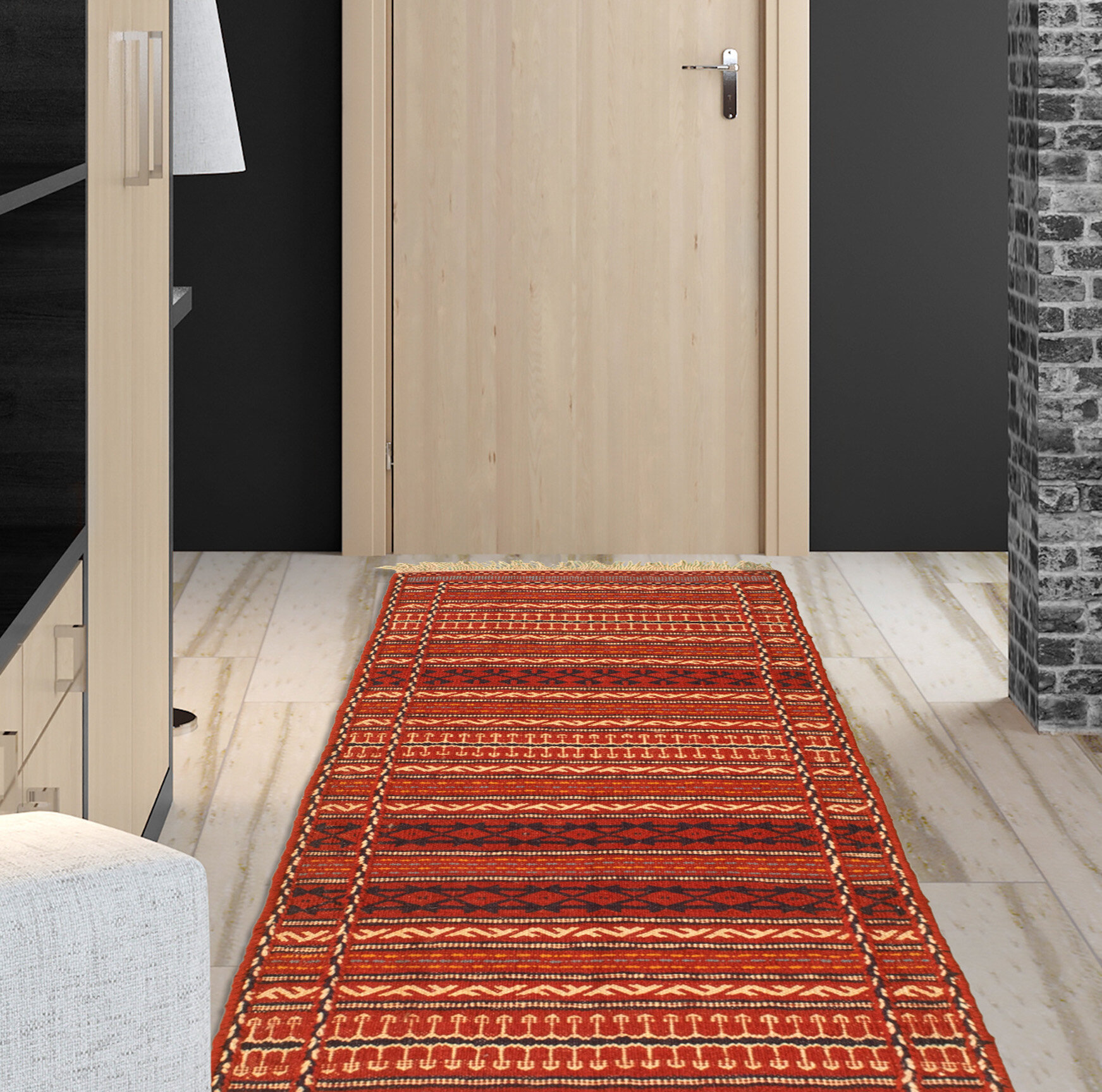 Foundry Select Wooldridge Handmade Kilim Wool Red Beige Rug Wayfair