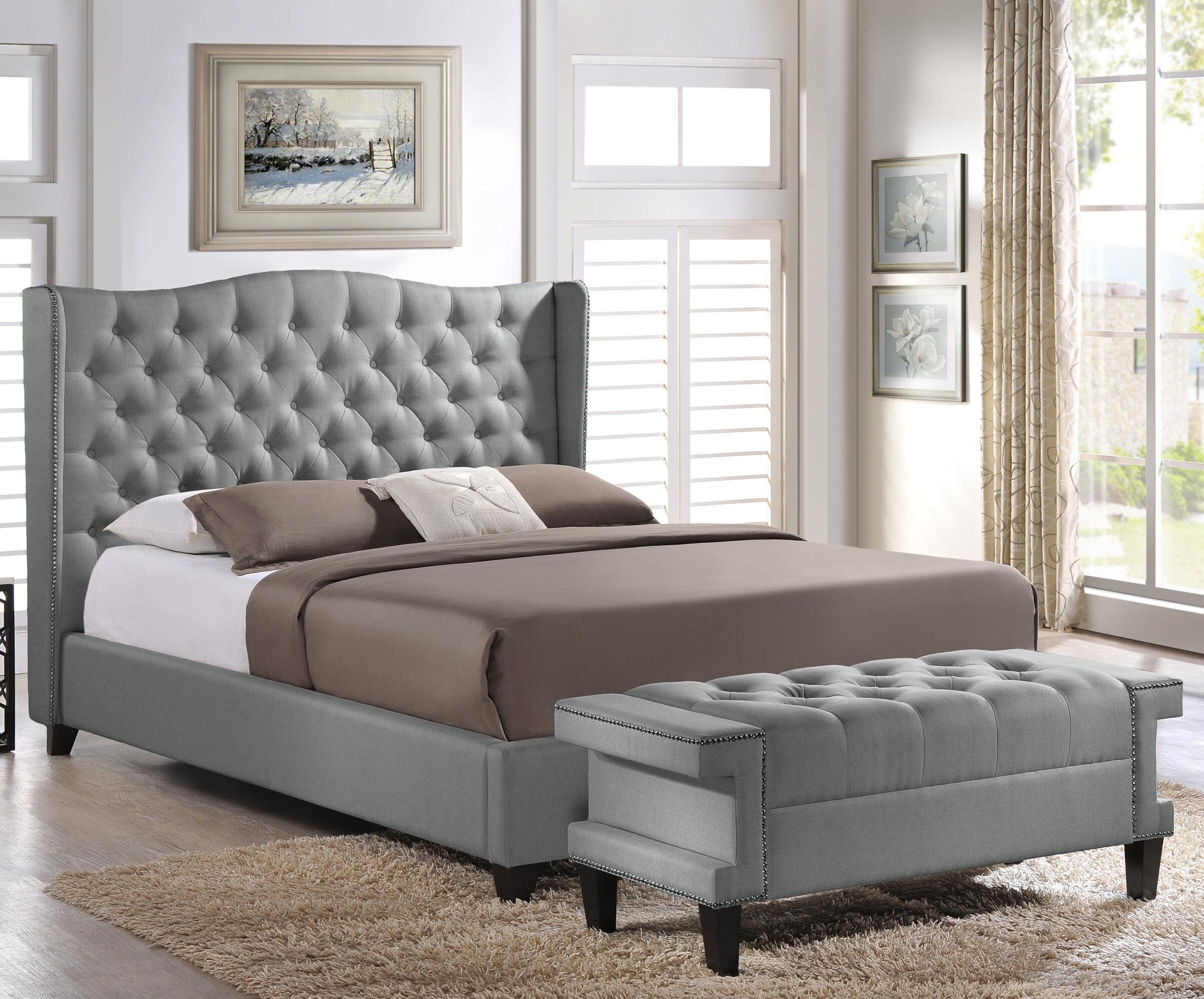 Fantastic Licata Upholstered Platform Bed And Bench Set Pdpeps Interior Chair Design Pdpepsorg