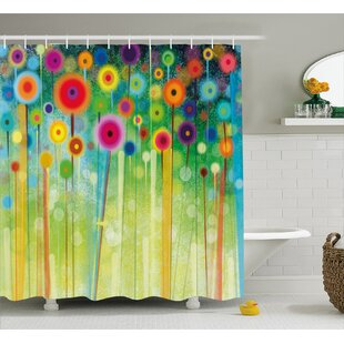 Where buy  Rena Abstract Dandelion Inspired Spiral Blooms Petals Nature Art Theme Shower Curtain By Winston Porter