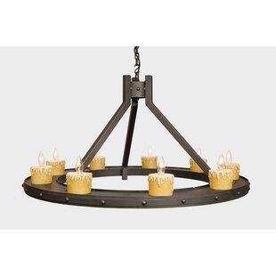 Steel Partners Rivets 9-Light Wagon Wheel Chandelier