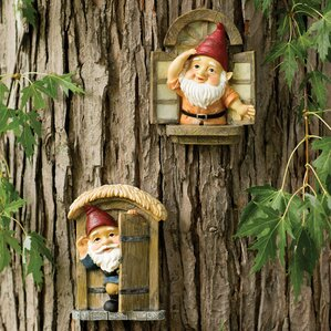 Wonderful Knothole Gnomes 2 Piece Garden Welcome Tree Statue Set