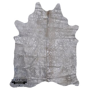 Great deal Queenborough Metallic Cowhide Exotic Silver/Off-White Area Rug By World Menagerie