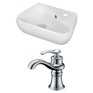 Savings Unique Ceramic 18 Wall Mount Bathroom Sink with Faucet and Overflow By American Imaginations