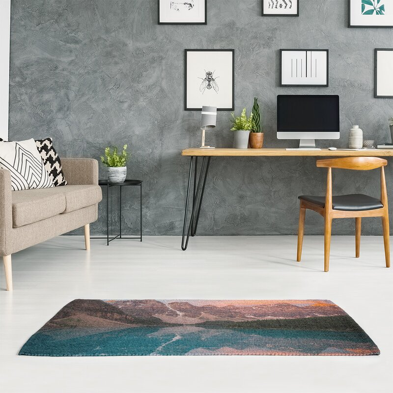 East Urban Home Valley And Mountains At Sunset Chenille Blue Green Pink Area Rug Wayfair