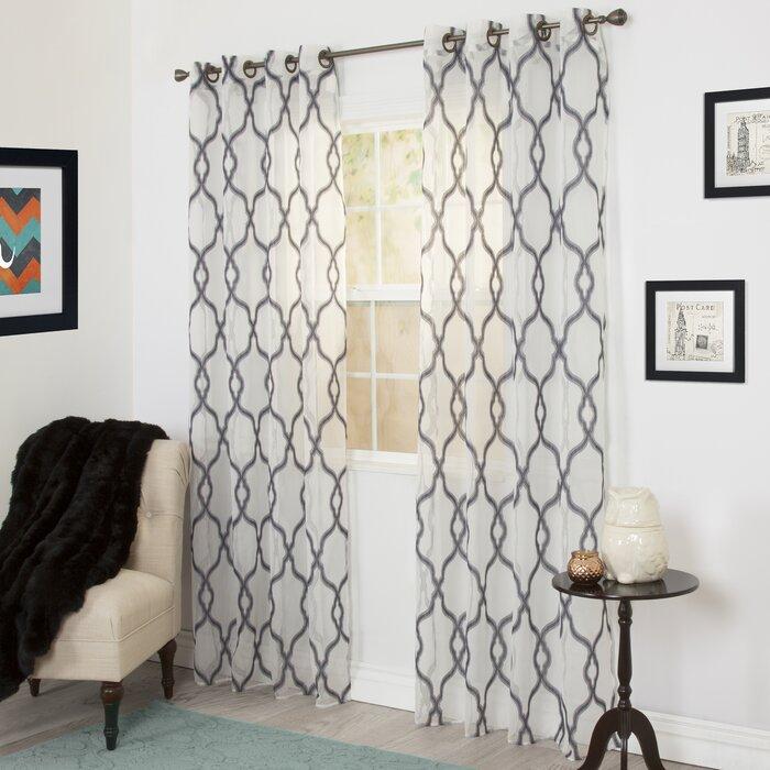 Trellis Emboidered Geometric Sheer Grommet Single Curtain Panel