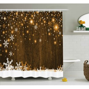 Compare Barker Wood and Snowflakes Shower Curtain By Loon Peak