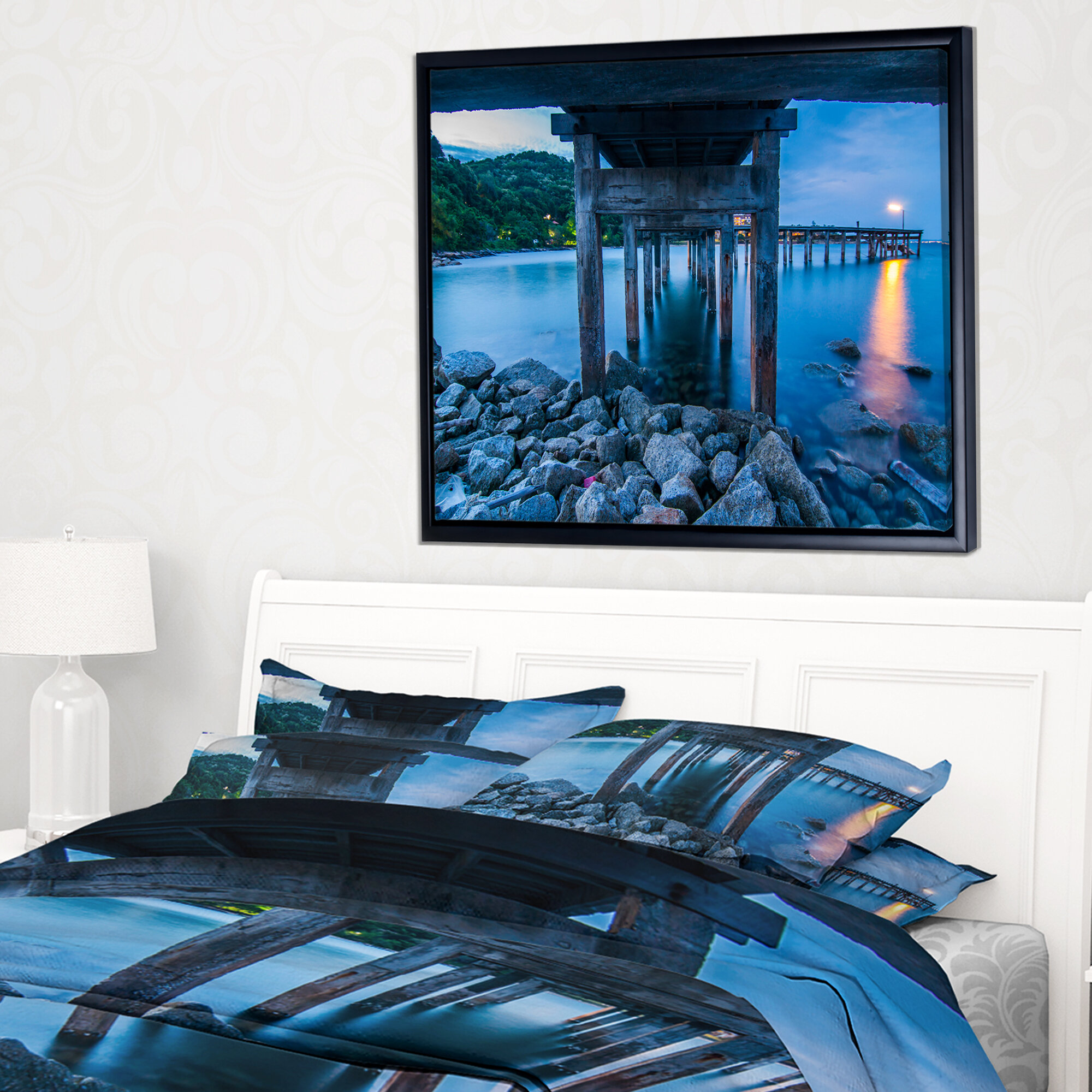 East Urban Home Under Wood Bridge At Twilight Framed Photographic Print On Wrapped Canvas Wayfair