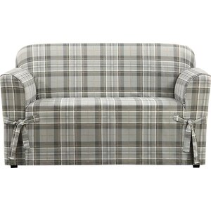 Highland Plaid Box Cushion Loveseat Slipcover