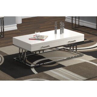 2-Drawer Rectangular Coffee Table Glossy White And Chrome by Orren Ellis SKU:DD830009 Shop