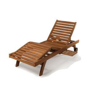 Longshore Tides Humphrey Teak Chaise Lounge with Cushion
