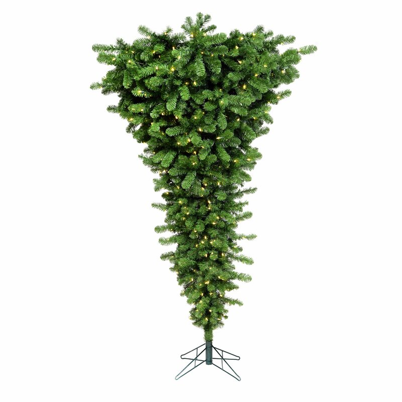 Vickerman Colorful Upside Down 5.5' Green Artificial Christmas Tree with 250 LED Lights ...