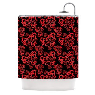 Sweetheart Damask by Mydeas Single Shower Curtain