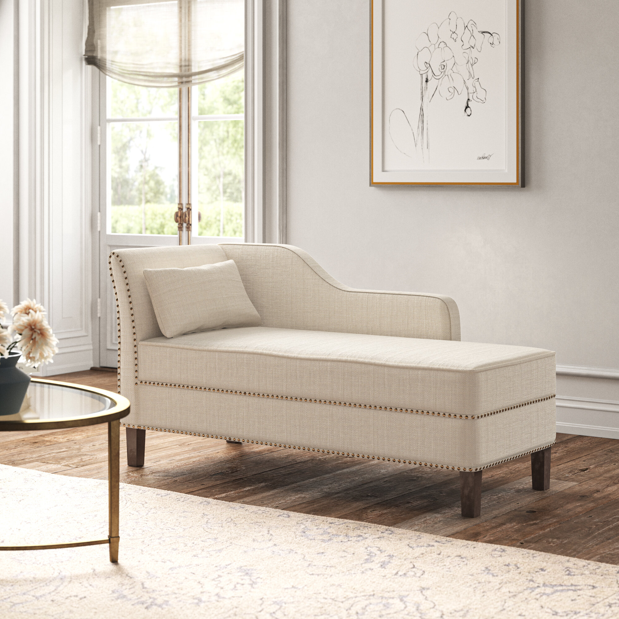 verona one left arm chaise recessed arms chaise lounge with storage