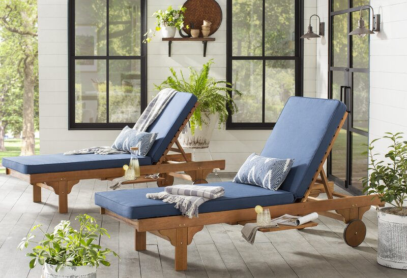 5x Lounge Chair : Three posts cranesville reclining chaise lounge with cushion