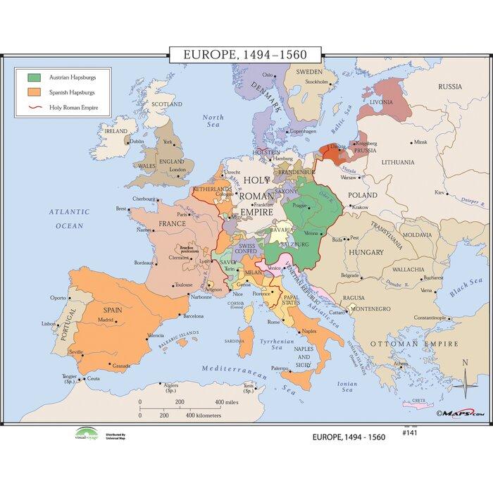 Universal Map World History Wall Maps - Europe 1494-1560 | Wayfair.ca