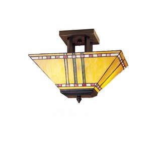 Meyda Tiffany 2-Light Corn Oblong Semi Flush Mount