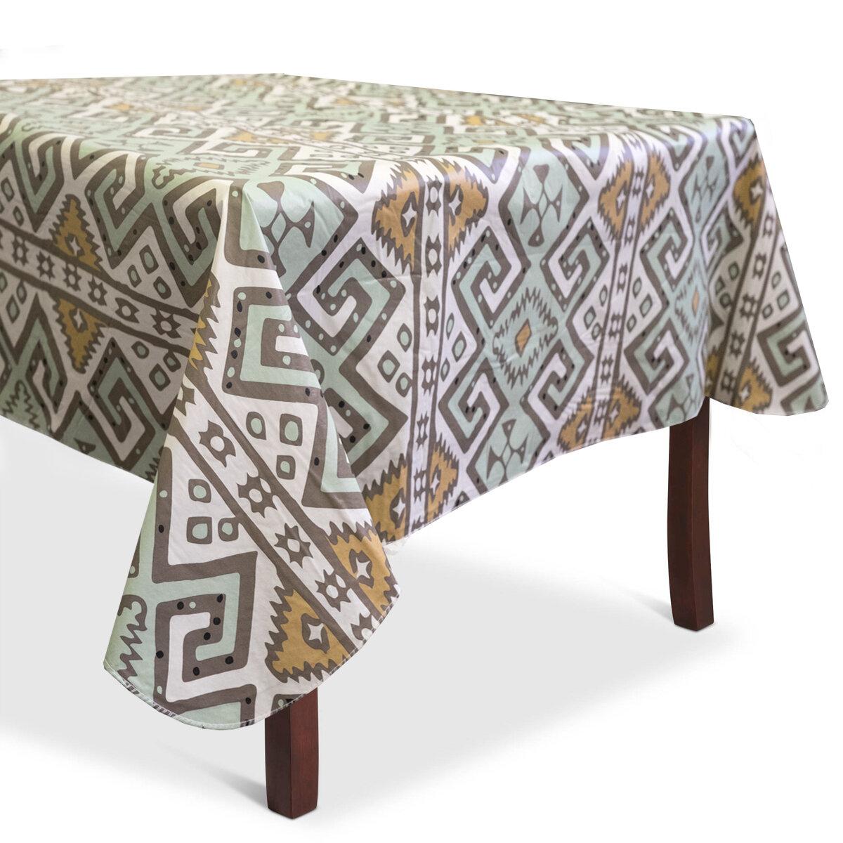 Bloomsbury Market Danae Aztec Print Heavyweight Vinyl Tablecloth Wayfair