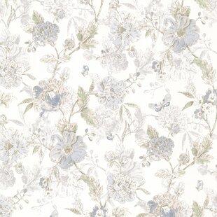 Kitchen Bath Resource Iii 33 X 205 Beecroft Butterfly Peony Trail Vintage Wallpaper Roll