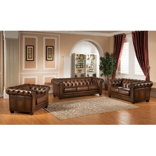 Amax Hickory 3 Piece Leather Living Room Set