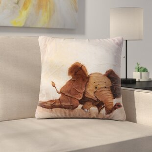 The Elephant With The Long Ears By Rachel Kokko Outdoor Throw Pillow by East Urban Home