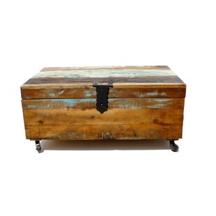 Sanjay Old Distressed Painted Teak Trunk On Wheels By World Menagerie