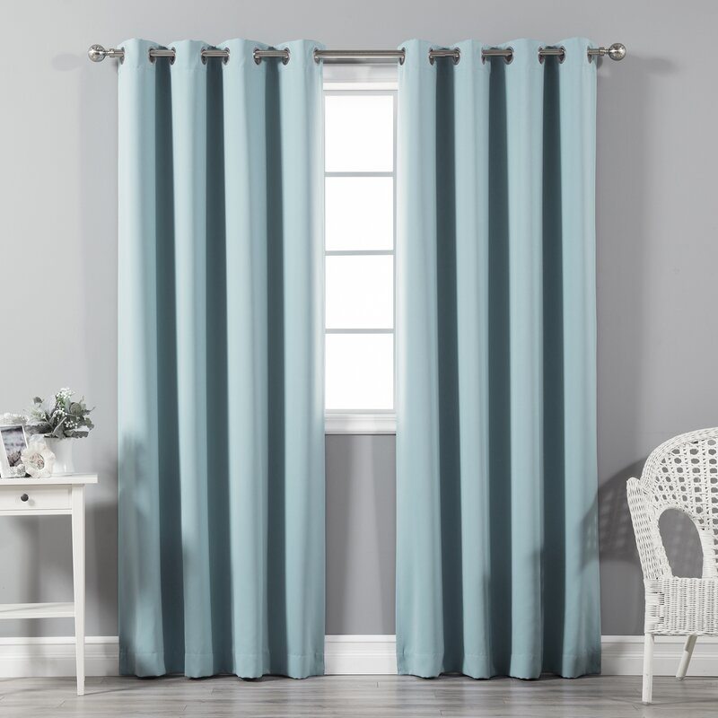 Schaeffer Solid Blackout Thermal Grommet Curtain Panels