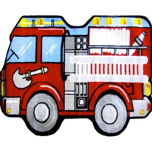 Fun Shape High Pile Fire Truck Area Rug