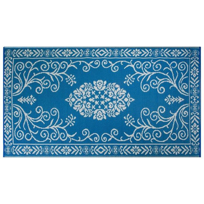 Whisler Garden Fl Blue White Area Rug