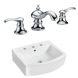 Coupon Ceramic 22 Wall-Mount Bathroom Sink with Faucet and Overflow ByRoyal Purple Bath Kitchen